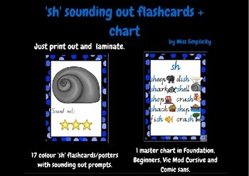 'sh' PHONIC flashcards and chart - 17 sounding out flashcards + chart PHONICS
