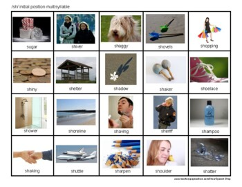 /sh/ articulation photos, sh sound, speech therapy, homework