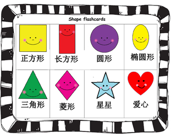 Mandarin Chinese shape flashcards (Chinese version)