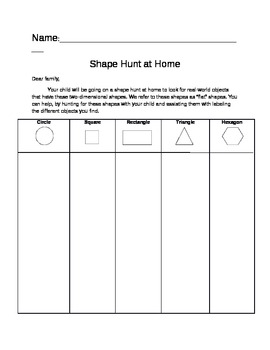 shape hunt (circle, square, rectangle, triangle, hexagon)