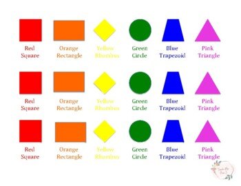 shapes/colors reference