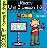 POSITION & SHAPE iREADY KINDERGARTEN MATH UNIT 3 LESSON 13 WORKSHEET POSTER EXIT