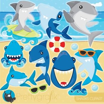 shark ocean clipart commercial use, vector graphics, digital - CL945