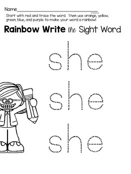 {she} sight word activities for centers