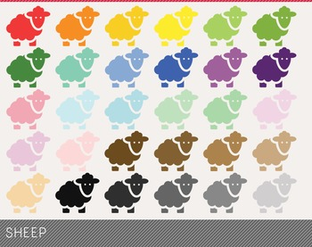 sheep Digital Clipart, sheep Graphics, sheep PNG, Rainbow