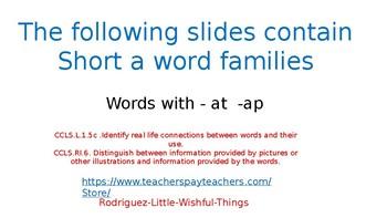 short a family -at & -ap family