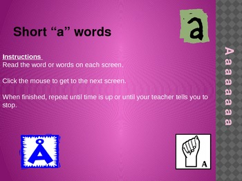 "short ""a"" powerpoint for accuracy and fluency practice"