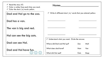 short /a/ reading passage and activity sheet Dad and Hal