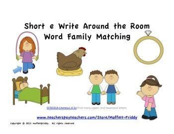 short e Word Family Write Around the Room