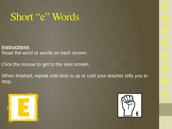 """short """"e""""powerpoint for accuracy and fluency practice"""
