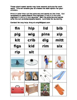 short i pictures and words to create matching cards