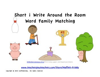 short i word family Write Around the Room