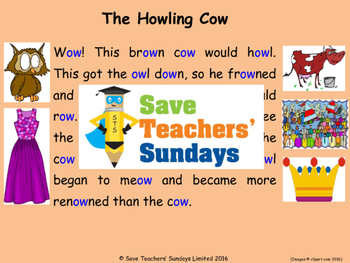 short ow phonics lesson plans, worksheets and other teaching resources