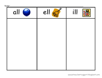 short vowel word families sorting sheets