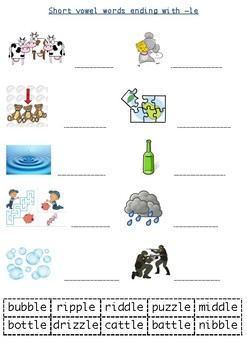 Cut and Paste: short vowel words ending with -le