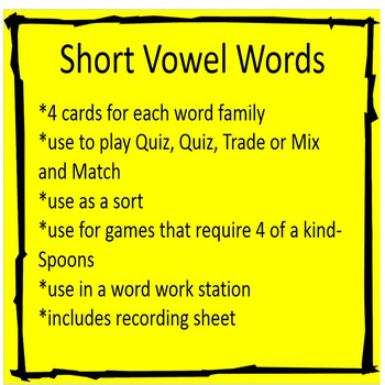 Give me 4!!! Short Vowel Cards for Games or Word Work