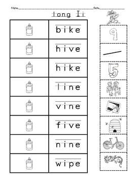 short vowels and long vowels cut and paste (CVC and CVCE Words)
