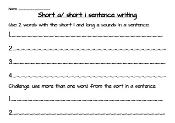 short i and a word sort