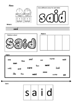 sight word SAID worksheet