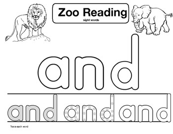 """sight word """"and"""" Zoo Reading"""