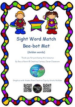 sight word bee-bot coding mat - golden words - super hero theme