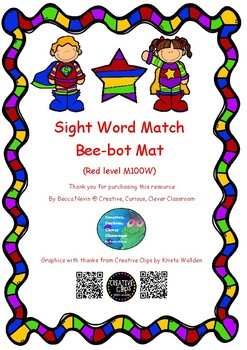 sight word bee-bot matching - Red level M100W - super hero theme