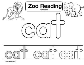 "sight word ""cat"" Zoo Reading"