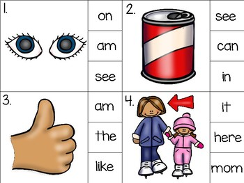 sight word clip cards_2 sets with recording sheets