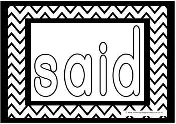 sight word colouring pages for preschool, prek, reception, kindergarten