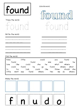 sight word fun: could and found