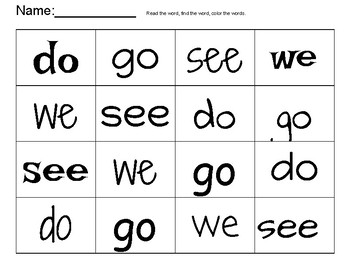 sight word grids