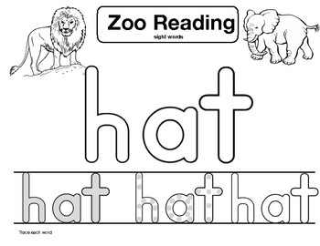 """sight word """"hat"""" Zoo Reading"""
