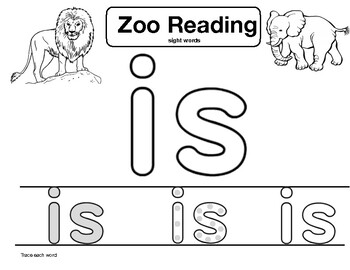 """sight word """"is"""" Zoo Reading"""
