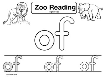 """sight word """"of"""" Zoo Reading"""