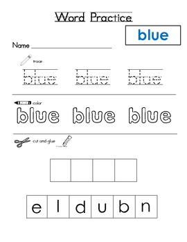 sight word practice- color words