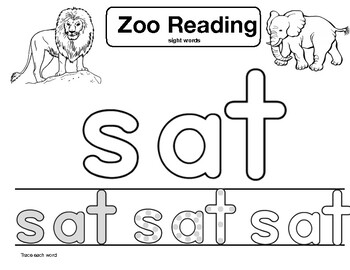"sight word ""sat"" Zoo Reading"