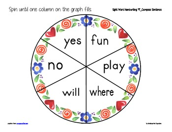 sight word spinners bundle