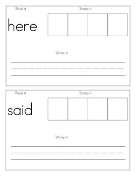 sight word stamp book