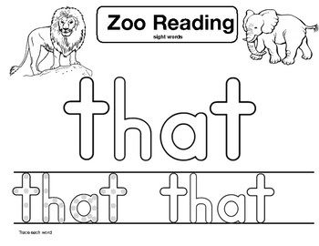 "sight word ""that"" Zoo Reading"