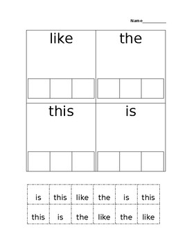 sight word- this, is, like, and the cut and paste
