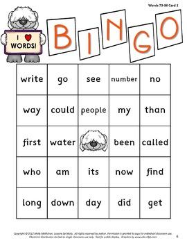 sight-words {BINGO-bundle COLOR ink}