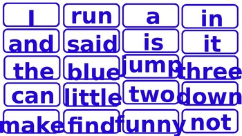 sight words for english word wall in color blue