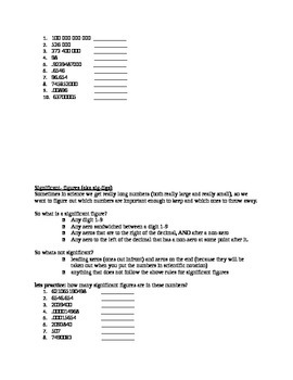 significant figures and scientific notation worksheet