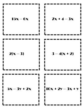 Simplifying Algebraic Expressions Activity {Simplifying Expressions Game}{Fall}