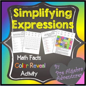 Simplifying Expressions Coloring(Combining Like Terms and Distributive Property)