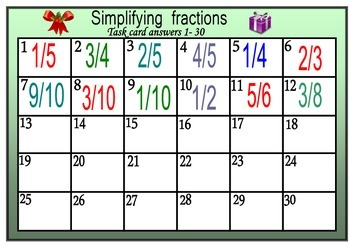 Christmas math simplifying fractions task cards