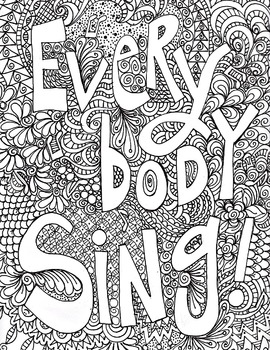 singing poster, everybody sing poster, vocal singing, music coloring poster
