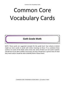 sixth grade common core standards vocabulary cards Math ELA