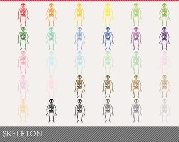 skeleton Digital Clipart, skeleton Graphics, skeleton PNG, Rainbow skeleton