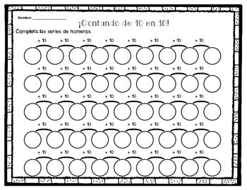 skip counting by 2's, 5's and 10's- english and spanish